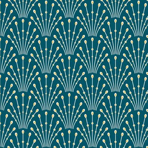 art deco beads_gold on teal blue