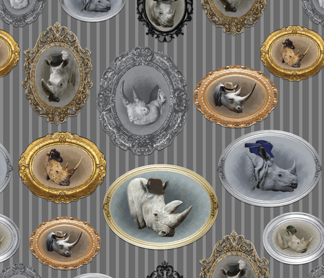 Rhinoceros Fabric Design in Gray