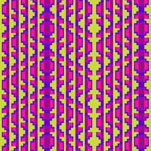 Folk Art Stripe 3   -Blue Violet, Strawberry, and Purple on Soft Lime