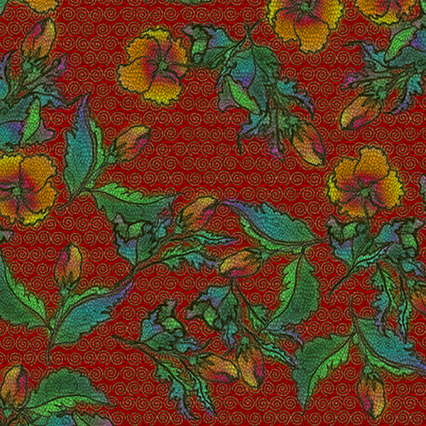 Shy Fleurs - Tattooed Cinnabar Dragon fabric by glimmericks on Spoonflower - custom fabric