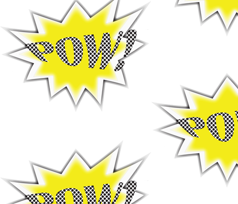 SuperHero POW! Yellow fabric by creamempire on Spoonflower - custom fabric