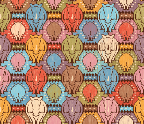 Tribal rhino fabric by cassiopee on Spoonflower - custom fabric