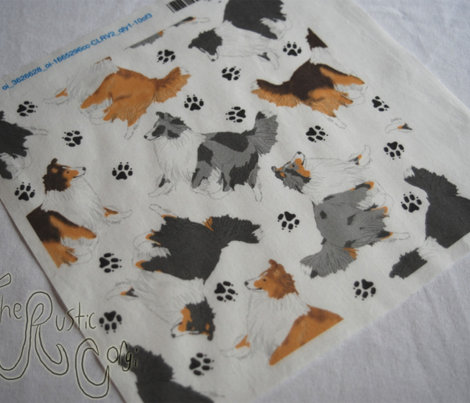 Trotting Shelties and paw prints - white