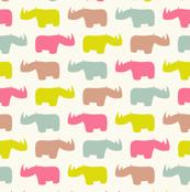Rhinos in sweet colors