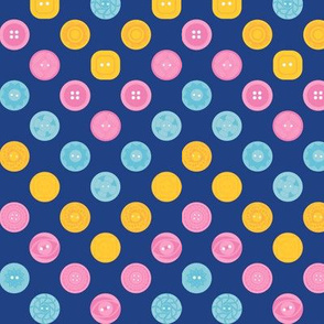 Vintage Buttons Zig Zag Polka Dots (Blue)