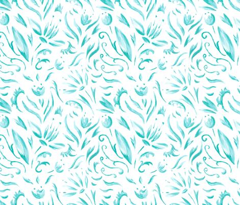 Turquoise fantasy fabric by kisikoida on Spoonflower - custom fabric