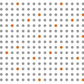 Polka Dotes in Gray and Orange