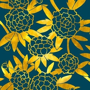 Paeonia in Gold on Navy