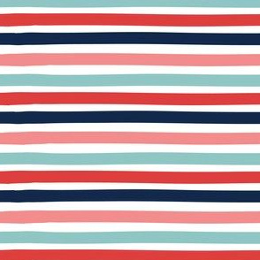 Stripe - dark blue, aqua, pink, red