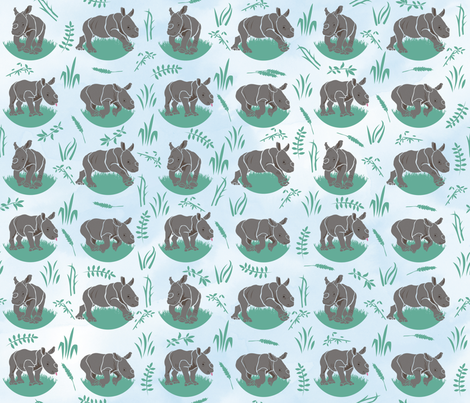 Baby_Rhinoceroses fabric by owlsquirrel&twobirds on Spoonflower - custom fabric