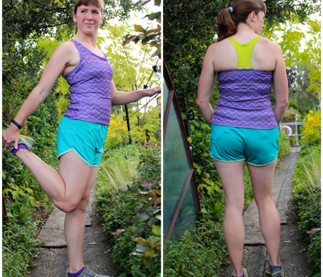 "XYT Workout Top ""Zigzag"" in purple/citrine/teal"