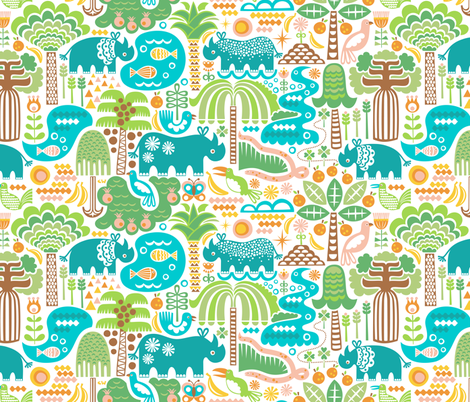 Rhino Habitats fabric by christinewitte on Spoonflower - custom fabric