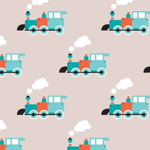 Vintage steam train illustration kids pattern