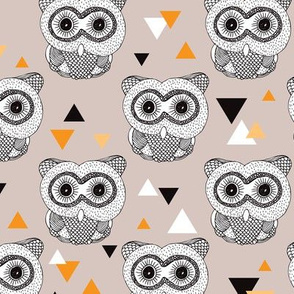 Woodland geometric owl doodle illustration pattern