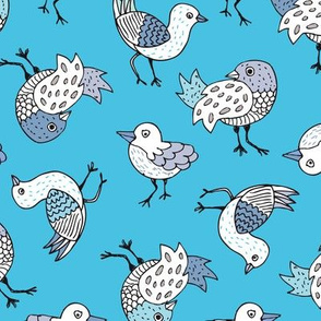 Bright blue sky quirky birds and fun illustrated animals