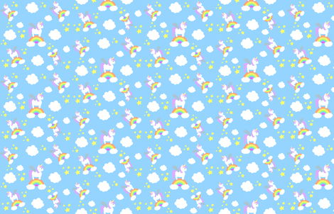Rainbow Unicorns  fabric by bumblebbs on Spoonflower - custom fabric