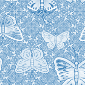 Butterfly rows in blue