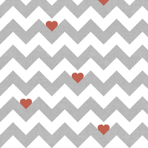 Heart & Chevron - Grey/Red Canvas