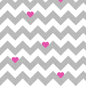 Heart & Chevron - Grey/Pink Canvas