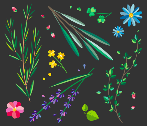 Garden - Dark fabric by bucketface on Spoonflower - custom fabric