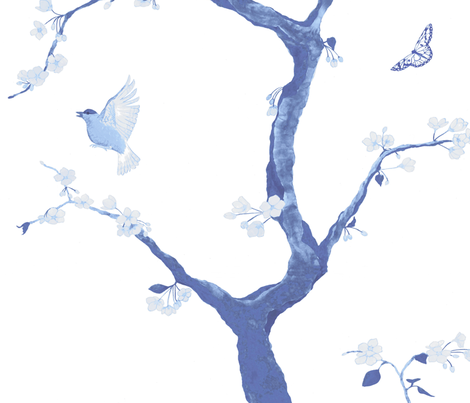 Jenny Cherry Blossoms in delft blue fabric by domesticate on Spoonflower - custom fabric