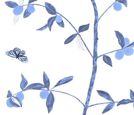 Jenny Kumquat in delft blue fabric by domesticate on Spoonflower - custom fabric