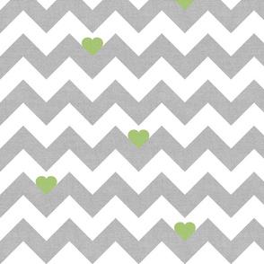 Heart & Chevron - Grey/Green Canvas