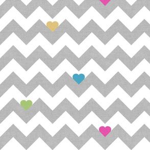 Heart & Chevron - Grey/Multi Canvas