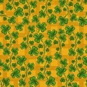 Painted Shamrocks On Caramel Gingham