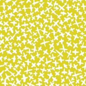 Brushed X's - Mustard Background