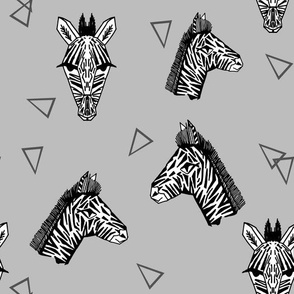 Zebra Faces - Slate Grey by Andrea Lauren