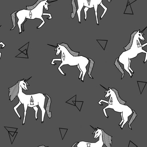 unicorns // charcoal unicorn girls sweet unicorn fabric