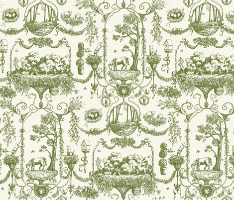 Forest Friends - Toile De Jouy fabric by katetortland on Spoonflower - custom fabric