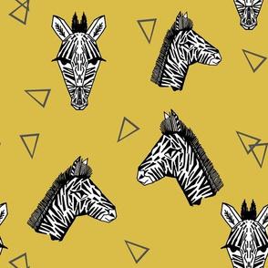 Zebras - Mustard by Andrea Lauren