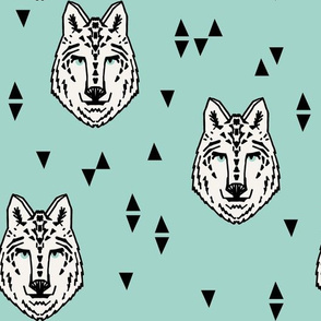wolf // mint kids boys animal wolfs wolves wolf fabric for boys room