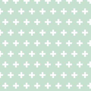 Mint and White Swiss Cross