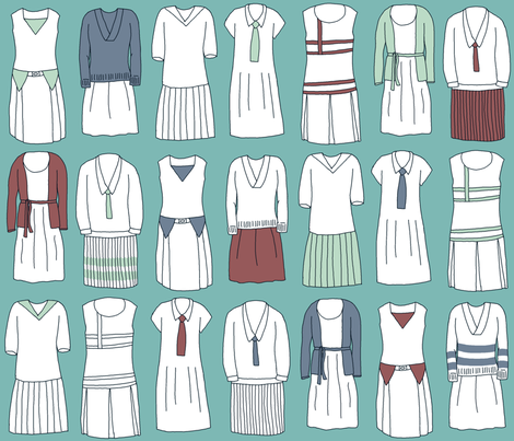 Dashing duds for twenties tennis fabric by mongiesama on Spoonflower - custom fabric