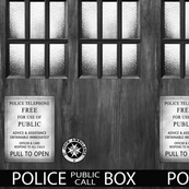 TARDIS  Wood Signage B/W  -MEDIUM SCALE