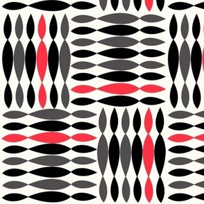 shapes in black and white and red