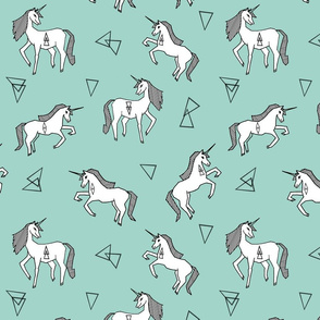 unicorn // mint and white triangles cute girls sweet pastel unicorn fabric