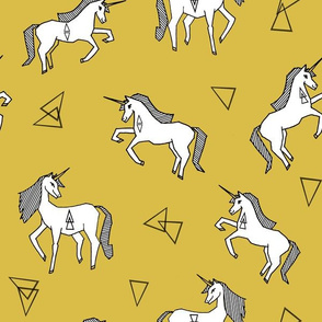 Unicorn Love - White on Mustard by Andrea Lauren
