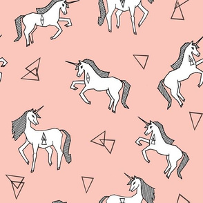Unicorn Love - White on Pale Pink by Andrea Lauren