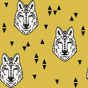 Wolf - White on Mustard by Andrea Lauren