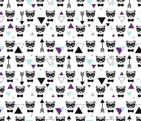 Mister hipster badger raccoon geometric pattern and arrows fabric by littlesmilemakers on Spoonflower - custom fabric