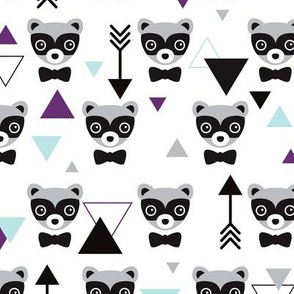 Mister hipster badger raccoon geometric pattern and arrows