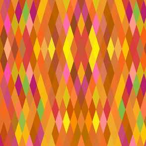 Orange Multicolor Harlequin Geometric