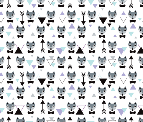 Mister hipster fox geometric pattern and arrows fabric by littlesmilemakers on Spoonflower - custom fabric