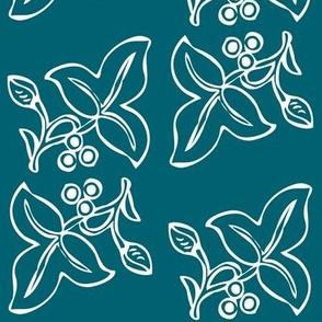 4x7inch 2sprig batik - whitet-deepAquamarine