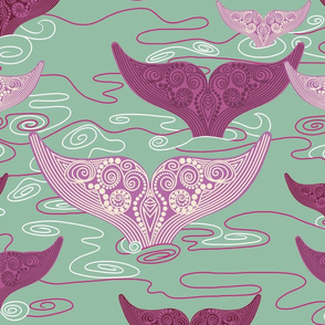 Whales_in_sage_green