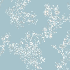 Flower Girls Floral - Blue & Cream